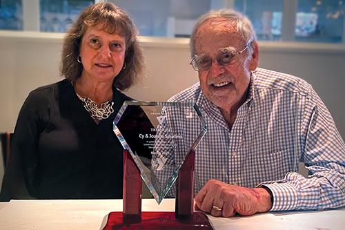 Joanne and Cy Spurlino with 2021 Red Triangle Award